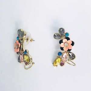 New! Colorful Crystals Flower Earrings